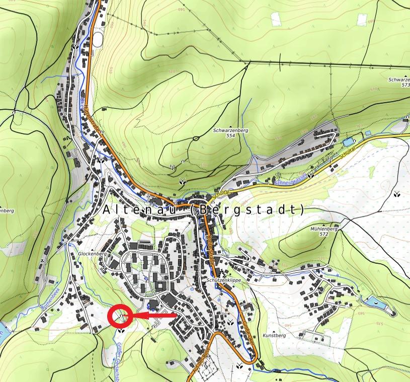 Standort Schutzhütte Schwefelquelle Gerlachsbach